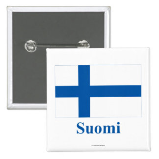Finland Flag with Name in Finnish Pinback Button