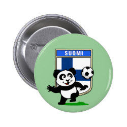 Round Button with Finland Football Panda design