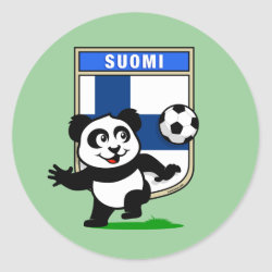 Round Sticker with Finland Football Panda design