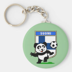 Basic Button Keychain with Finland Football Panda design