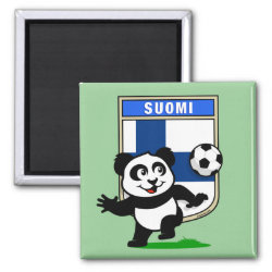 Square Magnet with Finland Football Panda design