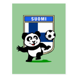 Postcard with Finland Football Panda design