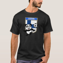 Men's Basic Dark T-Shirt with Finland Football Panda design