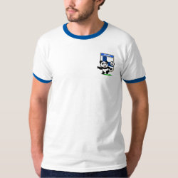 Men's Basic Ringer T-Shirt with Finland Football Panda design