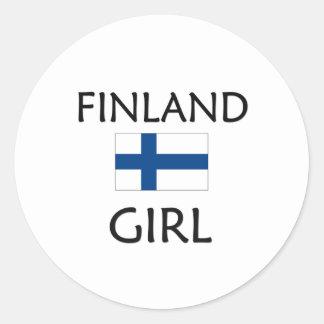 FINLAND GIRL CLASSIC ROUND STICKER