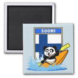Square Magnet with Finnish Kayaking Panda design