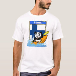 Men's Basic T-Shirt with Finnish Kayaking Panda design
