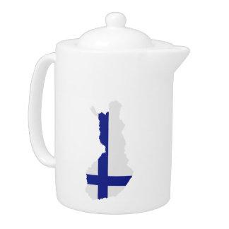 Finland map flag teapot