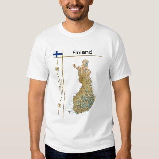 Finland Map + Flag + Title T-Shirt