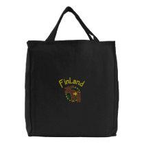 Finland Moose Embroidered Bag