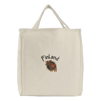 Finland Moose Embroidered Bag