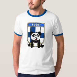 Men's Basic Ringer T-Shirt with Finnish Rings Panda design
