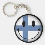 Finland Smiley Basic Round Button Keychain
