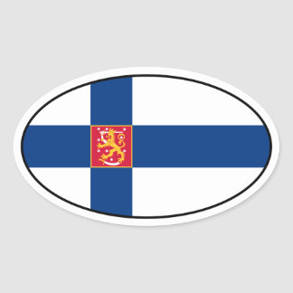 Finland State Flag Oval Sticker