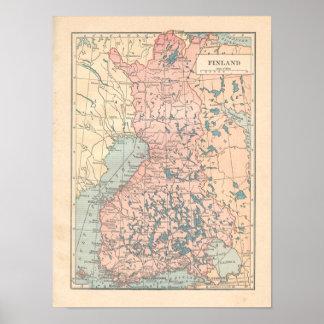 Finland Vintage 1923 Map Poster