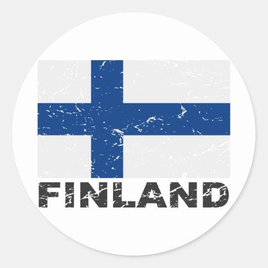 Finland Vintage Flag Classic Round Sticker