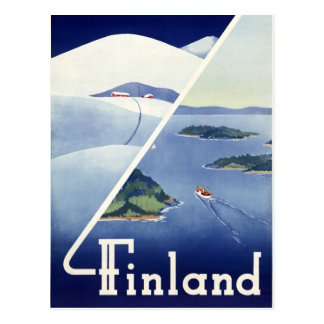 Finland Vintage Travel Poster Restored Postcard