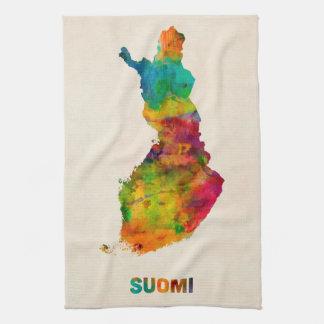 Finland Watercolor Map (Suomi) Towels