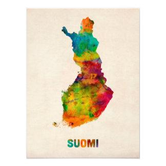 Finland Watercolor Map (Suomi) Photo Print