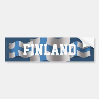 Finland Waving Flag Car Bumper Sticker