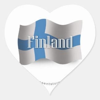 Finland Waving Flag Heart Sticker