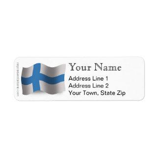 Finland Waving Flag Label