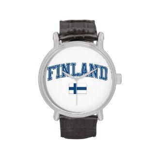 Finlandia + Bandera Relojes De Pulsera