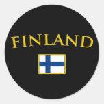Finlandia de oro pegatina redonda