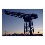 Finnieston Crane at sunset over Glasgow Posters