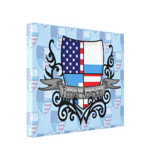 Finnish-American Shield Flag Canvas Print