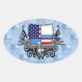 Finnish-American Shield Flag Oval Sticker