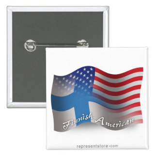 Finnish-American Waving Flag 2 Inch Square Button