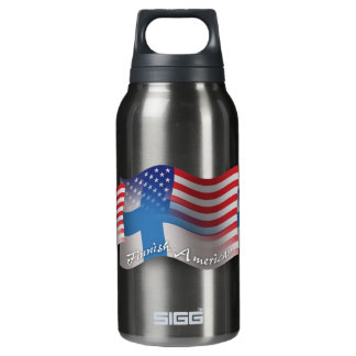 Finnish-American Waving Flag Insulated Water Bottle