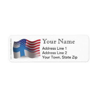Finnish-American Waving Flag Return Address Label