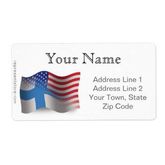 Finnish-American Waving Flag Label