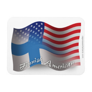 Finnish-American Waving Flag Magnet