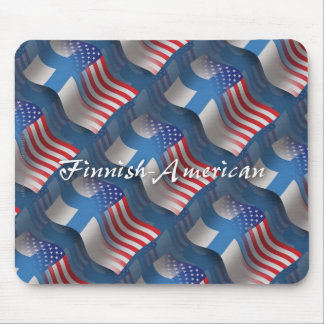 Finnish-American Waving Flag Mouse Pad