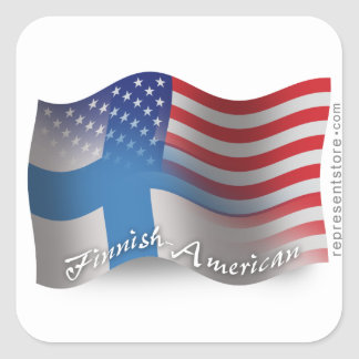 Finnish-American Waving Flag Square Sticker