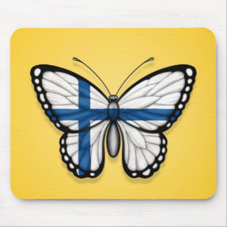 Finnish Butterfly Flag on Yellow Mouse Pad