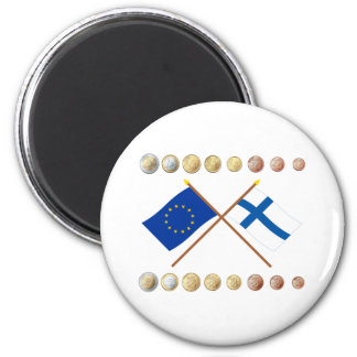 Finnish Euros and EU & Finland Flags Magnet