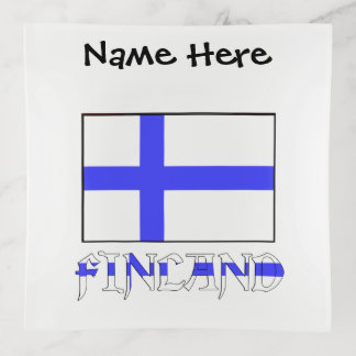 Finnish Flag and Finland with Your Name Trinket Trays