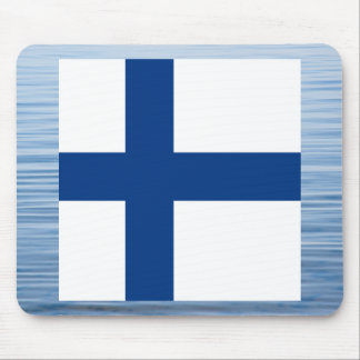 Finnish Flag Floating on water Mouse Pad