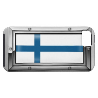 Finnish Flag in a Steel Frame iPhone SE/5/5s Case