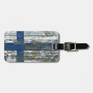 Finnish Flag on Rough Wood Boards Effect Luggage Tag