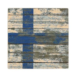 Finnish Flag on Rough Wood Boards Effect Wooden Coaster