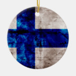 Finnish Flag Double-Sided Ceramic Round Christmas Ornament