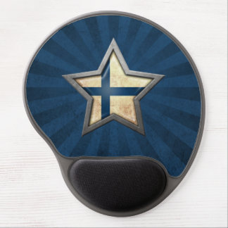 Finnish Flag Star with Rays of Light Gel Mouse Pad