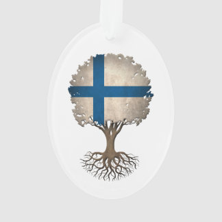 Finnish Flag Tree of Life Customizable Ornament