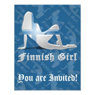 Finnish Girl Silhouette Flag Card