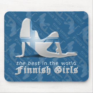 Finnish Girl Silhouette Flag Mouse Pad